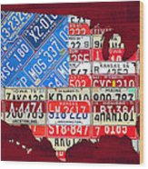 American Flag Map Of The United States In Vintage License Plates Wood Print