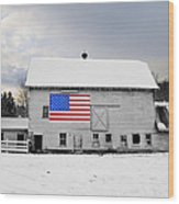 American Flag On A Pennsylvania Barn Wood Print