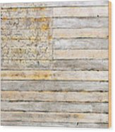 American Flag On Distressed Wood Beams White Yellow Gray And Brown Flag Wood Print