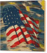 American Flag Wood Print by Patrick McClellan