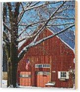 American Flag Red Barn Wood Print