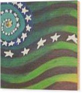 American Flag Reprise Wood Print