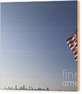 American Flag San Francisco Skyline Wood Print