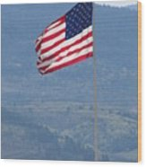 American Flag Star Valley Wood Print by Shawn Hughes