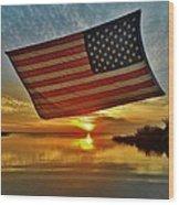 American Flag Sunset 14 2/18 Wood Print
