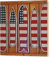 American Flag Surfboards Original Painting By Mark Lemmon Wood Print
