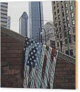 American Flag Tattered Wood Print