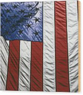 American Flag Wood Print by Tony Cordoza