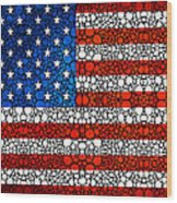 American Flag - Usa Stone Rock'd Art United States Of America Wood Print