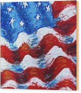 American Flag Wood Print by Venus