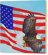 American Flag With Bald Eagle Wood Print