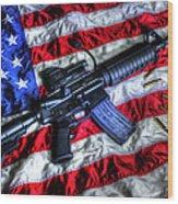 American Flag With Rifle Wood Print by Geoffrey Coelho