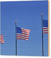 American Flags - Navy Pier Chicago Wood Print by Christine Till
