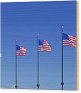 American Flags On Chicago's Famous Navy Pier Wood Print