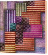 American Flags Wood Print