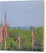 American Flags With Kennesaw Mountain In Background Wood Print