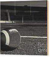 American Football On Field Wood Print