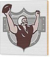 American Football Receiver Touchdown Retro Wood Print by Aloysius Patrimonio