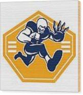 American Football Running Back Stiff Arm Wood Print