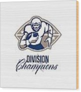 American Football Runningback Division Champions Wood Print by Aloysius Patrimonio
