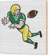 American Football Wide Receiver Catch Ball Cartoon Wood Print by Aloysius Patrimonio