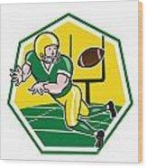 American Football Wide Receiver Catching Ball Cartoon Wood Print by Aloysius Patrimonio