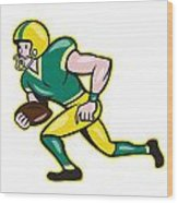 American Football Wide Receiver Running Ball  Wood Print