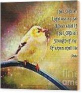 American Goldfinch Gazes Upward  - Series II  Digital Paint With Verse Wood Print