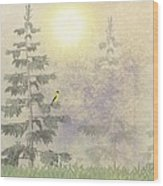 American Goldfinch Morning Mist  Wood Print by David Dehner