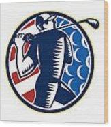 American Golfer Tee Off Golf Retro Wood Print