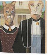 American Gothic Cat Wood Print