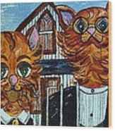 American Gothic Cats - A Parody Wood Print