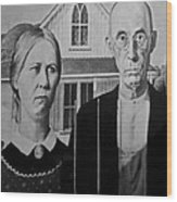 American Gothic In Black And White 1 Wood Print
