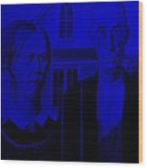 American Gothic In Blue Wood Print