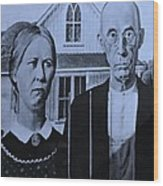 American Gothic In Cyan Wood Print