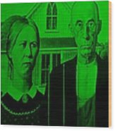 American Gothic In Green Wood Print
