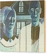 American Gothic In Negative Wood Print
