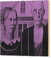 American Gothic In Pink Wood Print