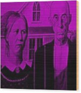 American Gothic In Purple Wood Print