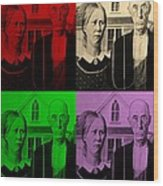 American Gothic In Quad Colors Wood Print