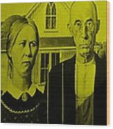 American Gothic In Yellow Wood Print
