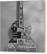American Guitar In Black And White Wood Print