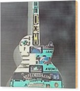American Guitar In Neagtive Wood Print
