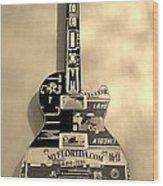American Guitar In Sepia Wood Print