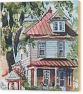 American Home With Children's Gazebo Wood Print by Kip DeVore