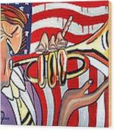 American Jazz Man Wood Print