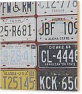 American License Plates Wood Print