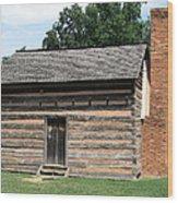 American Log Cabin Wood Print by Frank Romeo