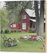 American Log Home  Wood Print