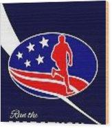 American Marathon Achieve Something Poster  Wood Print